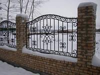 Арочный забор с элементами ковки
