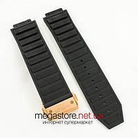 Для часов ремешок Hublot big bang king power black с застежкой gold 24mm (06133)