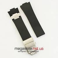 Каучуковый для часов ремешок Ulysse Nardin maxi marine black silver с застежкой silver (06139), фото 1