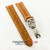 Кожаный ремешок с застежкой для часов Patek Philippe sky moon brown silver (06262)