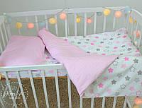Постільна білизна в ліжечко в біло-рожевих тонах 1837