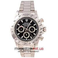 Чоловічі копія механічні годинники Rolex daytona cosmograph 40 mm steel silver black (06364) репліка