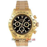Мужские копия механические часы Rolex daytona oyster perpetual datejust black gold (06365) реплика