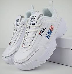 Женские кроссовки в стиле Fila Disruptor 2 x ALIFE белые. Живое фото