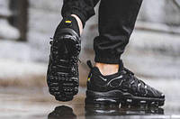 Мужские спортивные кроссовки Air VaporMax Plus Black (в стиле Найк Вапормакс Плюс) черные, фото 1
