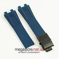 Каучуковый ремешок для часов Ulysse Nardin el toro dual time blue c застежкой black (06756)