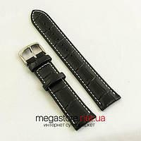Кожаный ремешок для часов 20 мм черный (06462)