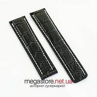 Для часов кожаный ремешок Breitling black 22 мм (06780), фото 1