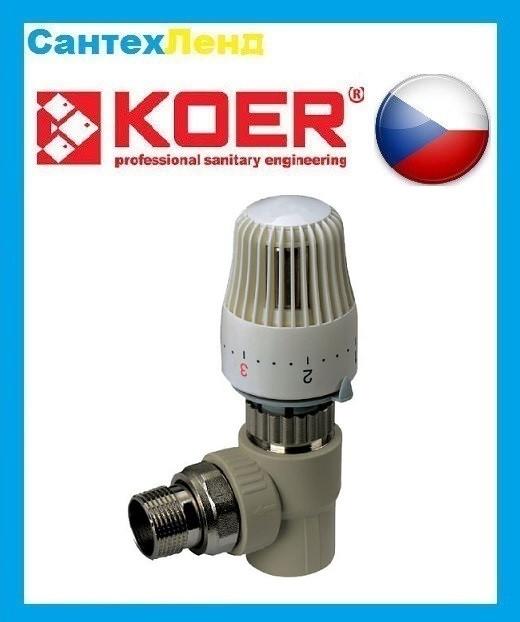 Кран Термостатический Радиаторный Угловой С Термоголовкой 20х1/2 Koer