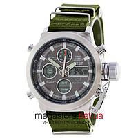 Мужские армейские наручные часы Amst silver black am3003 (06818)