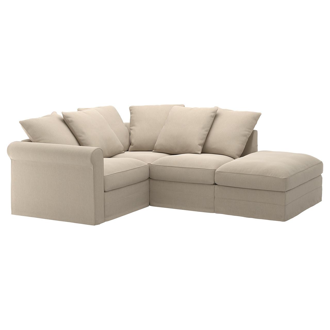 IKEA GRONLID (592.557.06) 3-местный угловой диван, с открытым концом, Ljungen светло-зеленый
