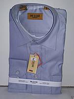 Рубашка мужская De Luxe vd-0005 серая в мелкую полоску классическая с длинным рукавом