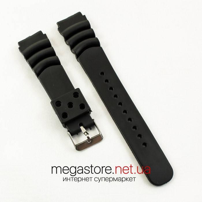 Каучуковый для часов ремешок Casio black 20 мм (06868), фото 1