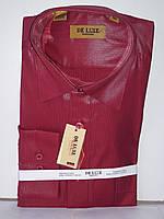 Рубашка мужская De Luxe vd-0009 красная в мелкую полоску классическая с длинным рукавом
