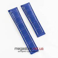 Для часов кожаный ремешок Breitling blue 24 мм (06967), фото 1