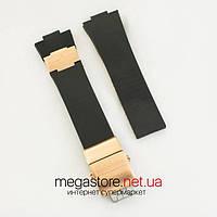 Каучуковый для часов ремешок Ulysse Nardin maxi marine black gold с застежкой gold (07067), фото 1
