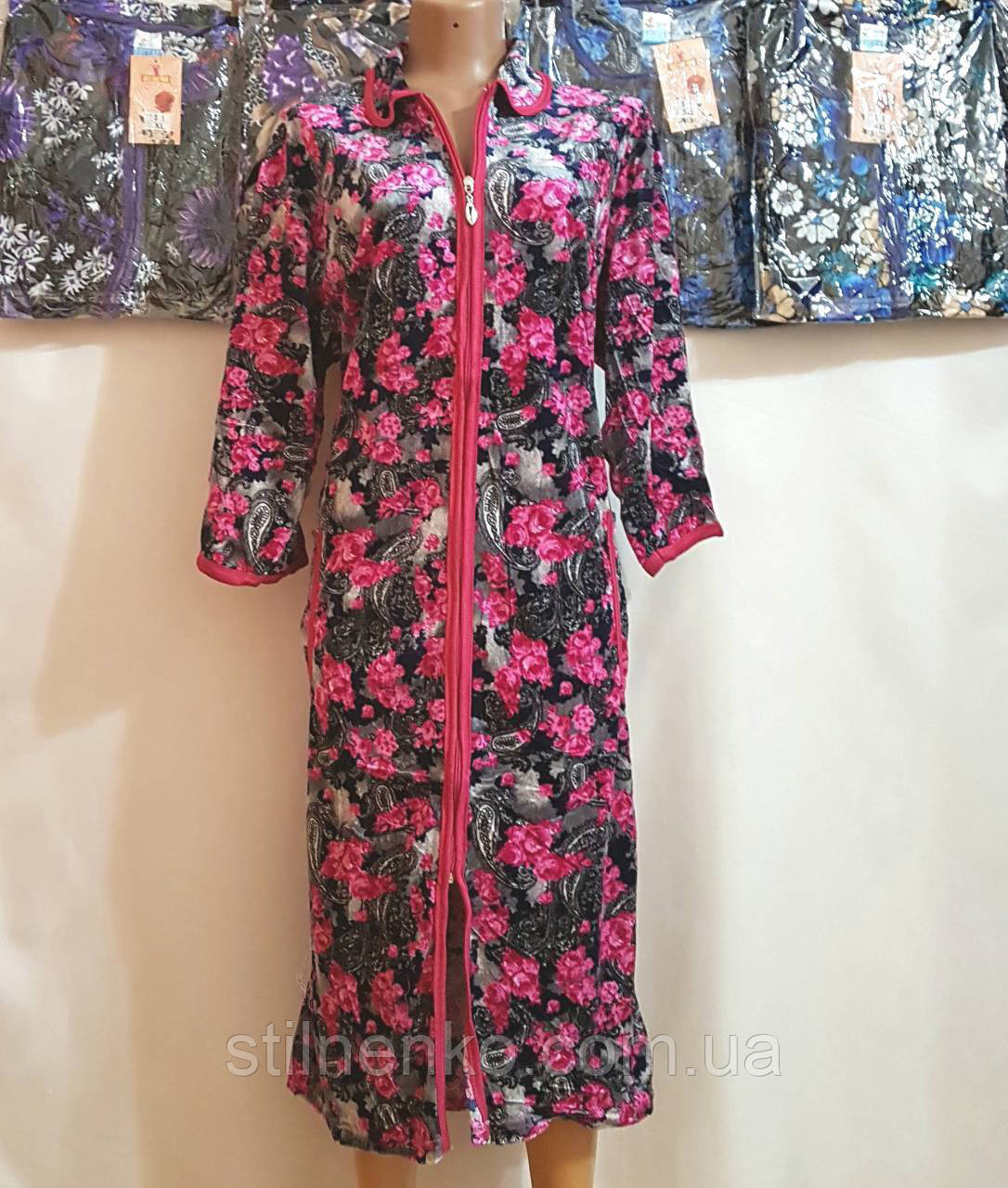 Жіночий халат велюровий (теплий)