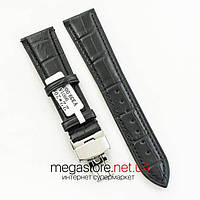 Кожаный универсальный ремешок Rate для часов с застежкой 22 мм черный (07096)