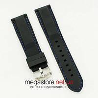 Силиконовый ремешок для часов универсальный black blue 20 мм, 22 мм, 24 мм (07110)