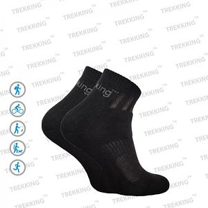 """Трекинговые носки демисезонные ТМ """"Trekking"""" Short (короткие) чёрные"""