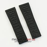 Каучуковый ремешок для часов Breitling black 24 мм (07136), фото 1