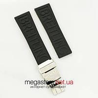 Каучуковый ремешок для часов Breitling 24 мм black с застежкой silver (07137), фото 1