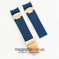 Каучуковый для часов ремешок Ulysse Nardin maxi marine blue gold с застежкой gold (07155), фото 1