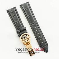 Кожаный ремешок с застежкой для часов Patek Philippe black gold 22 мм на 18 мм (07164), фото 1