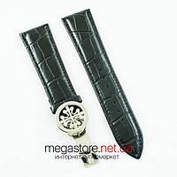 Кожаный ремешок с застежкой для часов Patek Philippe black silver 24 мм на 20 мм (07183), фото 1