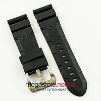 Для часов каучуковый ремешок Panerai black silver 24 мм (07202), фото 1