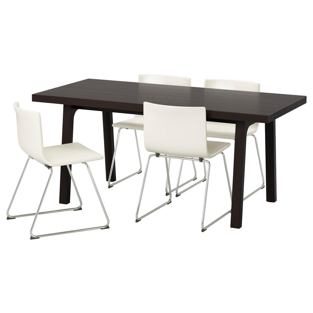 IKEA VASTANBY/VASTANA / BERNHARD (191.031.83) Стол и 4 стула, темно-коричневый