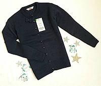 Детская вязаная кофта на девочку, на  пуговицах, р. 9-14 лет, темно синий