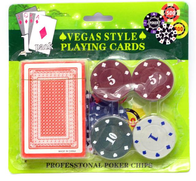 Набор для покера: 20 фишек, колода карт