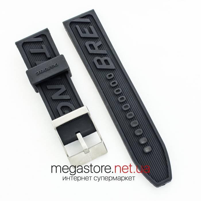 Каучуковый ремешок для часов Breitling 24х22 мм black с застежкой (07345)