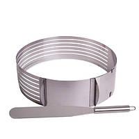 Форма для бисквита регулируемая 24.5-30 см с отверстием для нарезки и ножом