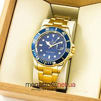 Мужские наручные копия часы Rolex oyster perpetual gold blue (07418) реплика
