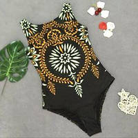 Слитный женский купальник черный с орнаментом