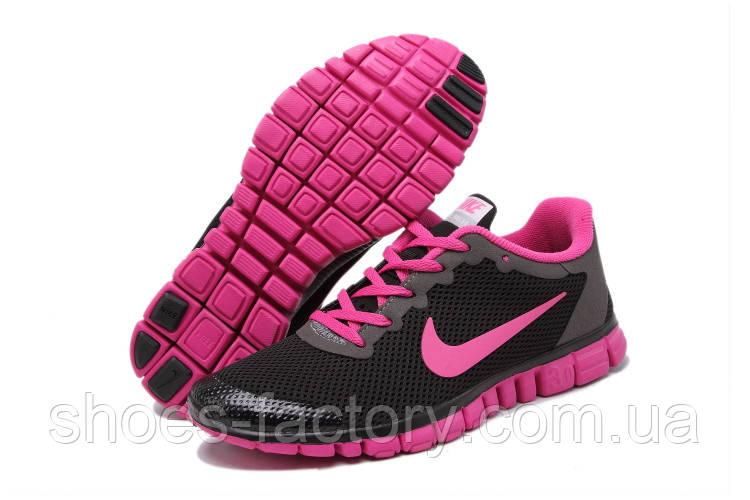 Кроссовки женские в стиле Nike Free Run 3.0, Чёрный\Розовый
