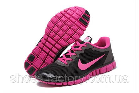 Кроссовки женские в стиле Nike Free Run 3.0, Чёрный\Розовый, фото 2