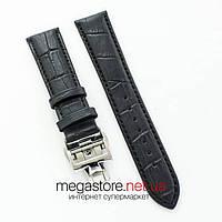 Кожаный ремешок с застежкой для часов Vacheron Constantin black silver 21 мм на 18 мм (07472), фото 1