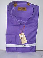 Рубашка мужская De Luxe vd-0014 фиолетовая в полоску с длинным рукавом