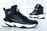 Мужские высокие зимние кроссовки Nike M2K Winter Black Найк черные (реплика) , фото 1