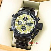 Мужские армейские наручные часы Amst black green am3003 на браслете (07481)