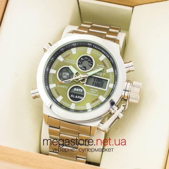 Мужские армейские наручные часы Amst silver green am3003 на браслете (07483)