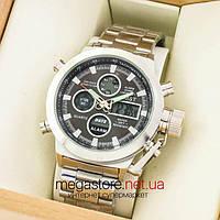 Мужские армейские наручные часы Amst silver black am3003 на браслете (07484)