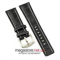 Для часов кожаный ремешок с застежкой Breitling black silver 24мм (07495), фото 1