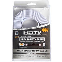 Шнур HDMI (штекер - штекер), плоский кабель, gold, 5м, белый (в блистере), Tcom