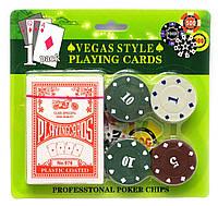 Покерный набор - 24 фишки, колода карт