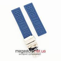 Каучуковый ремешок для часов Breitling blue 22 мм с застежкой (07583), фото 1
