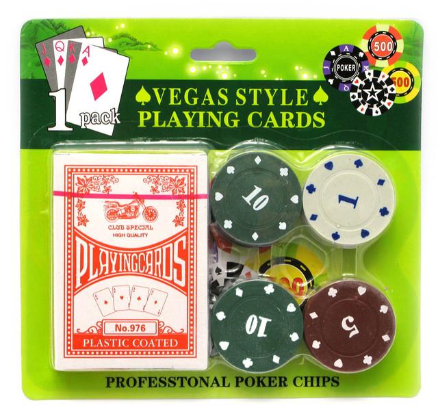 Набор для покера: 28 фишек, колода карт